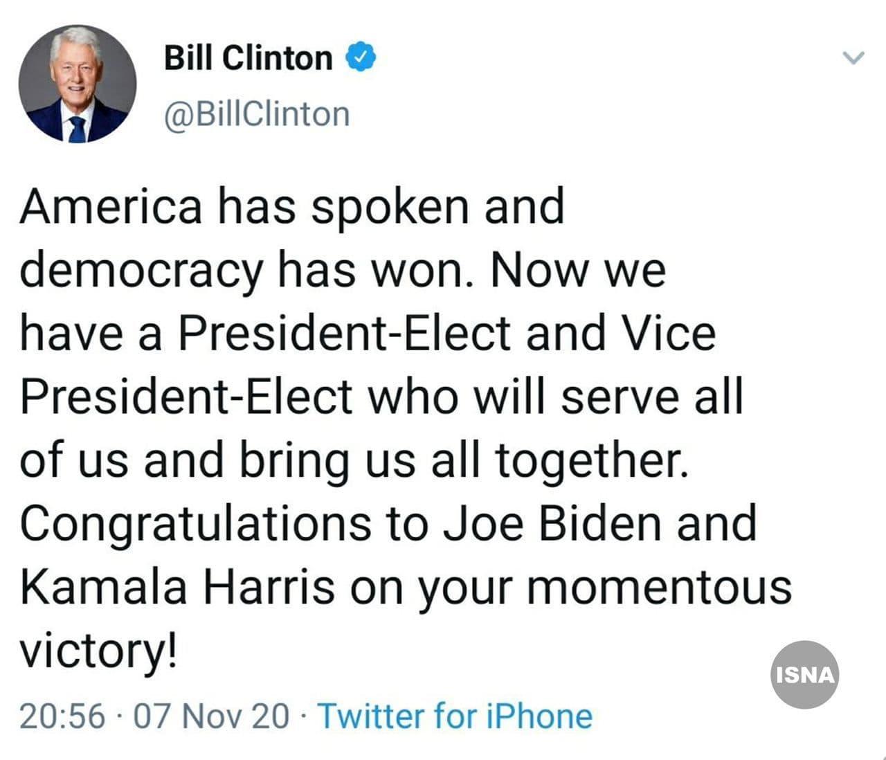 بیل کلینتون: آمریکا حرفش را زد و دموکراسی برنده شد