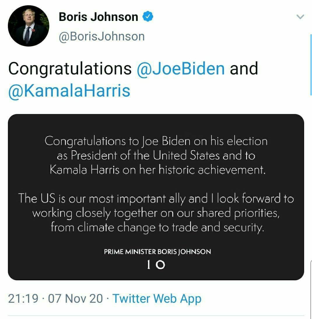واکنش جانسون به پیروزی بایدن در انتخابات ریاست جمهوری آمریکا
