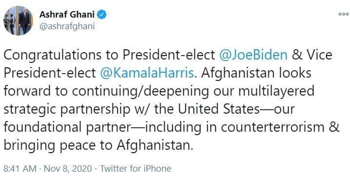 اشرف غنی به بایدن تبریک گفت: کابل به دنبال تعمیق مشارکت استراتژیک با آمریکا است