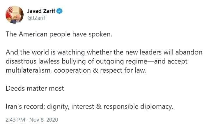 ظریف: جهان منتظر است دولت جدید آمریکا قلدری را کنار بگذارد