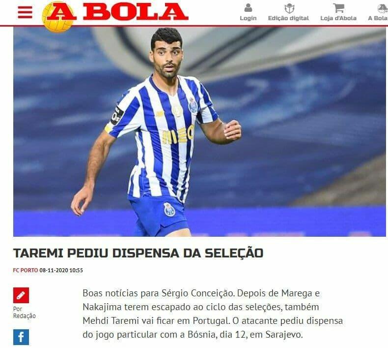 روزنامه پرتغالی: طارمی خودش از حضور در تیم ملی فوتبال ایران انصراف داد