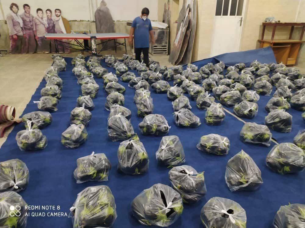 توزیع بادمجان به عنوان کمک معیشتی به مردم