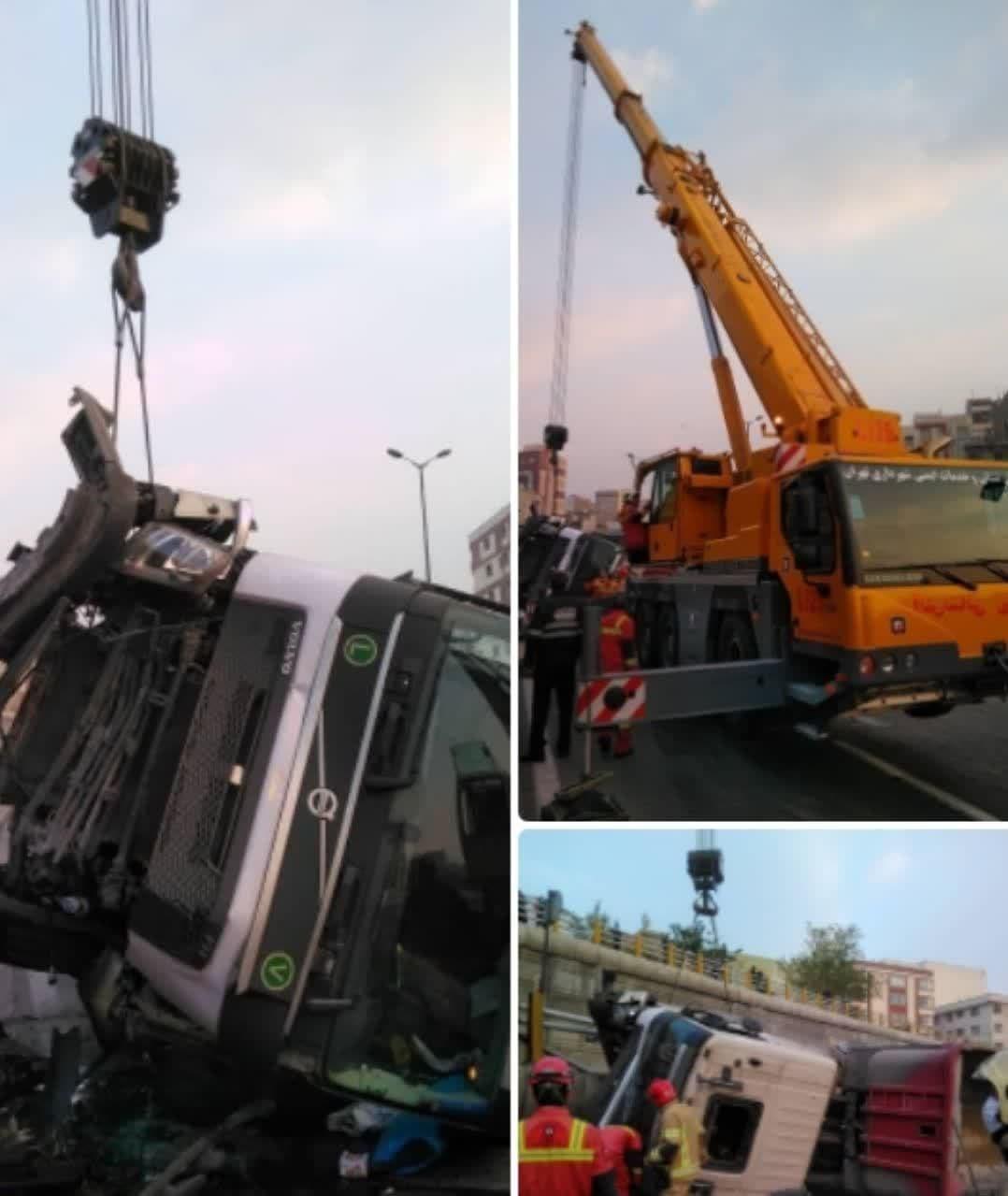 واژگونی یک دستگاه تریلر در بزرگراه امام علی (ع)