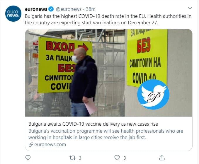 بالاترین نرخ مرگ و میر کرونایی اروپا در دستان بلغارستان