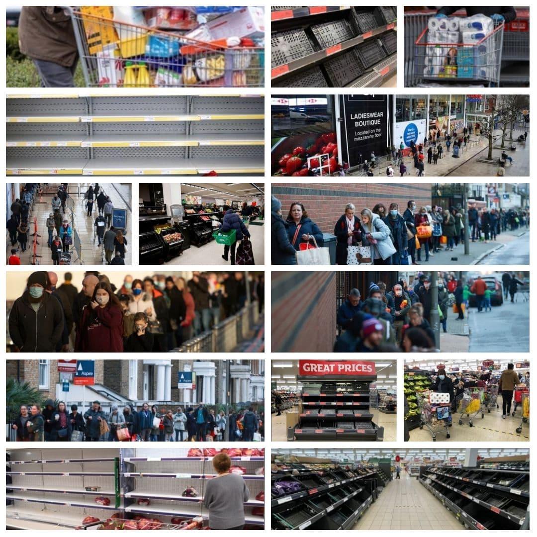 صفهای شلوغ و قفسههای خالی فروشگاههای لندن