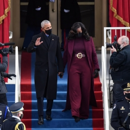 لحظه ورود اوباما و همسرش به مراسم تحلیف جو بایدن
