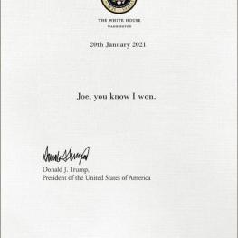 نامه ای که ترامپ برای بایدن به یادگار گذاشت