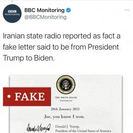 نامه منتشر شده ترامپ جعلی هست!