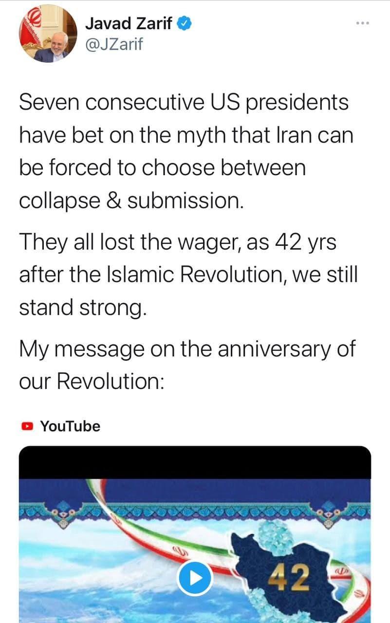 ظریف به مناسبت چهل و دومین سالگرد پیروزی انقلاب شکوهمند اسلامی