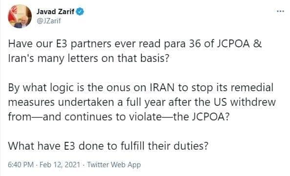 واکنش ظریف به بیانیه مشترک تروئیکای اروپایی