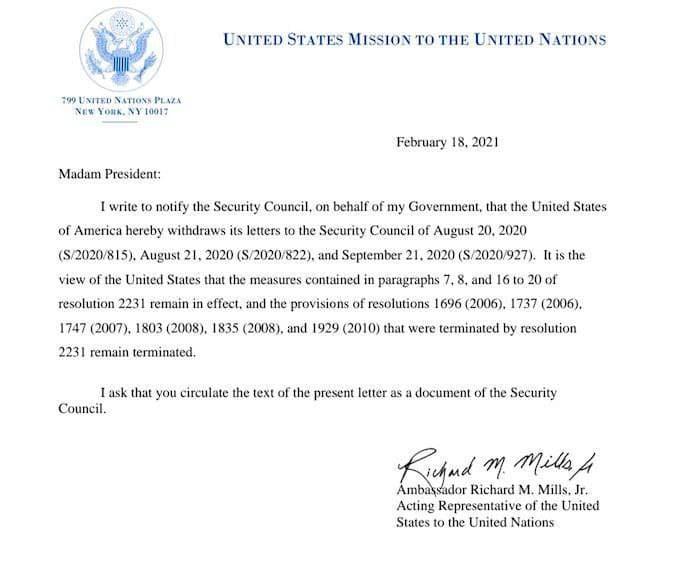 آمریکا رسما ادعای مکانیسم ماشه خود علیه ایران را پس گرفت
