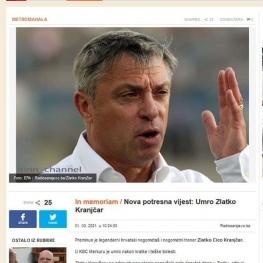 رسانه های کرواسی: زلاتکو کرانچار، بازیکن و مربی مطرح فوتبال درگذشت.
