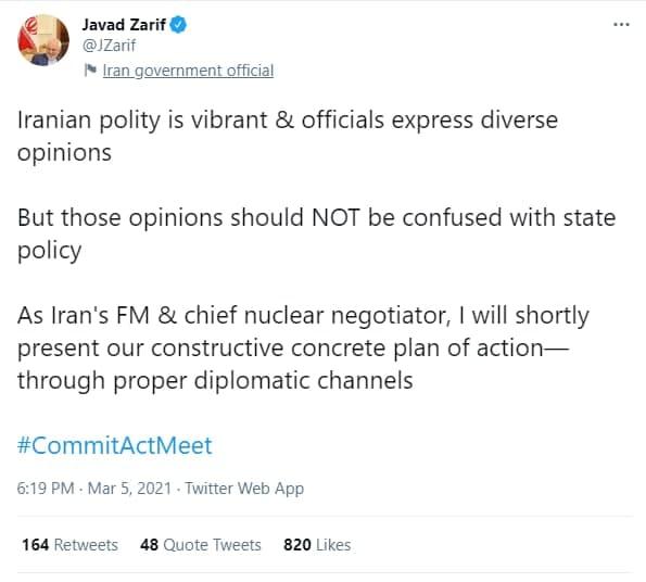ظریف: به زودی طرح اقدام سازنده و دقیق ایران را ارائه خواهم داد