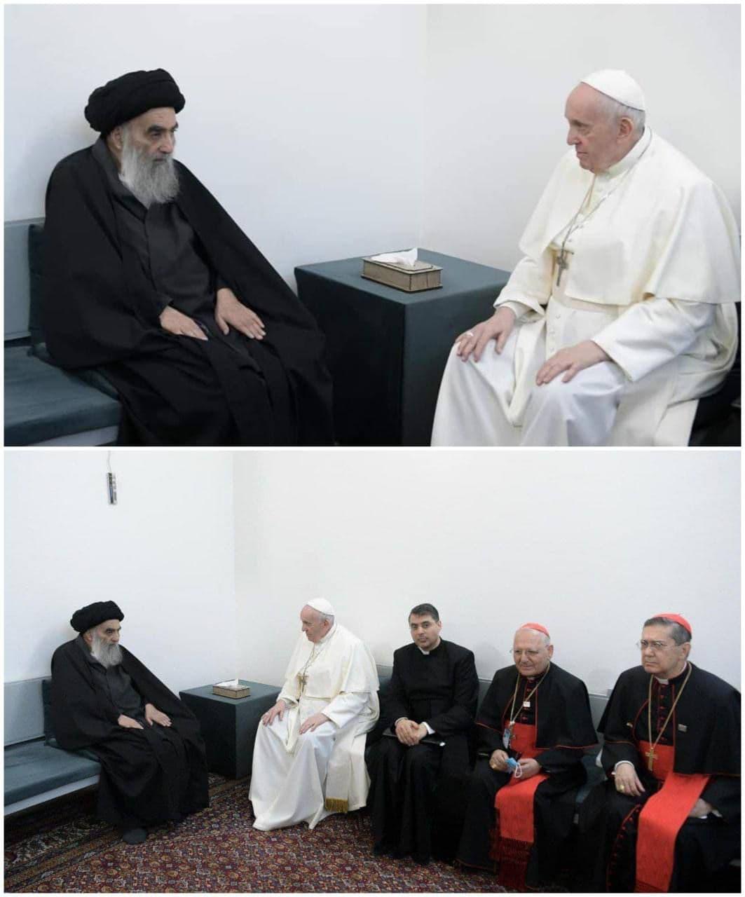 تصويرى از دیدار پاپ فرانسیس با آيت الله سيستانى