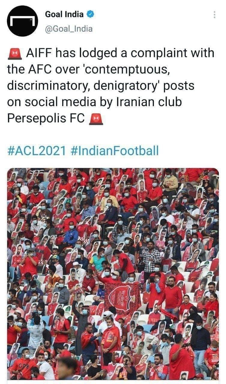 شکایت فداسیون فوتبال هند از پرسپولیس به دلیل انتشار پست حاشیهساز