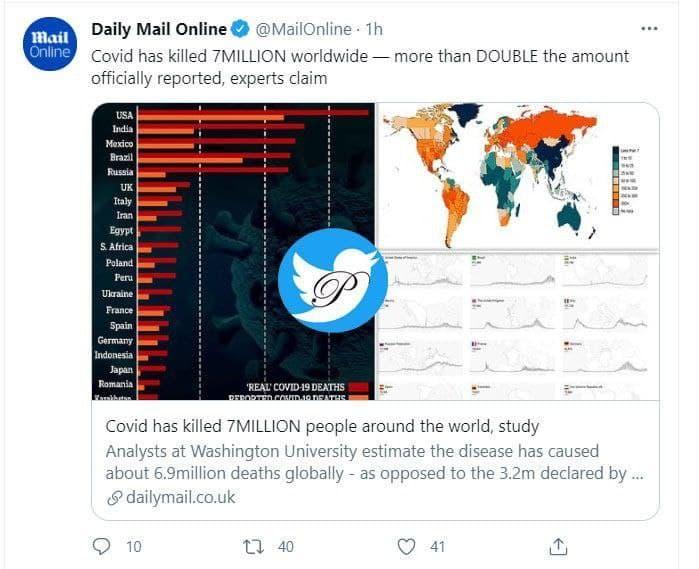 کروناویروس تاکنون ۶/٩ میلیون نفر را در جهان به کام مرگ برده و نه ٣/٢ میلیون را!