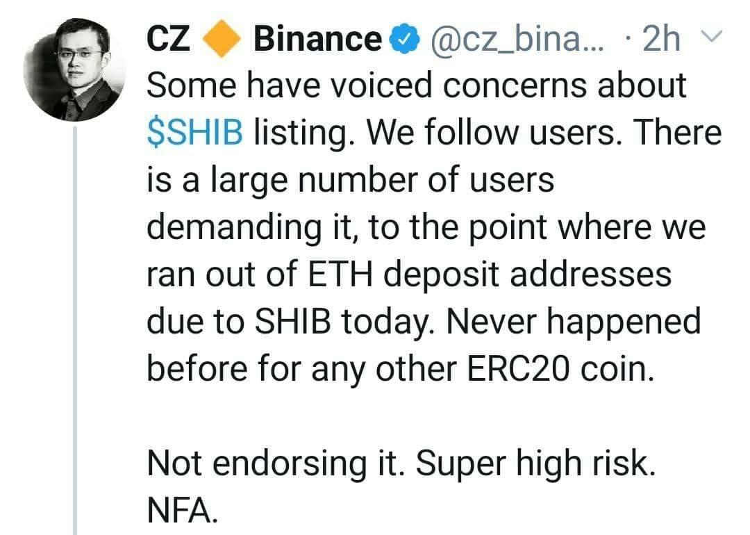 مدیر عامل بایننس: امروز انتقاداتی در خصوص لیست شدن ارز SHIB شنیدیم