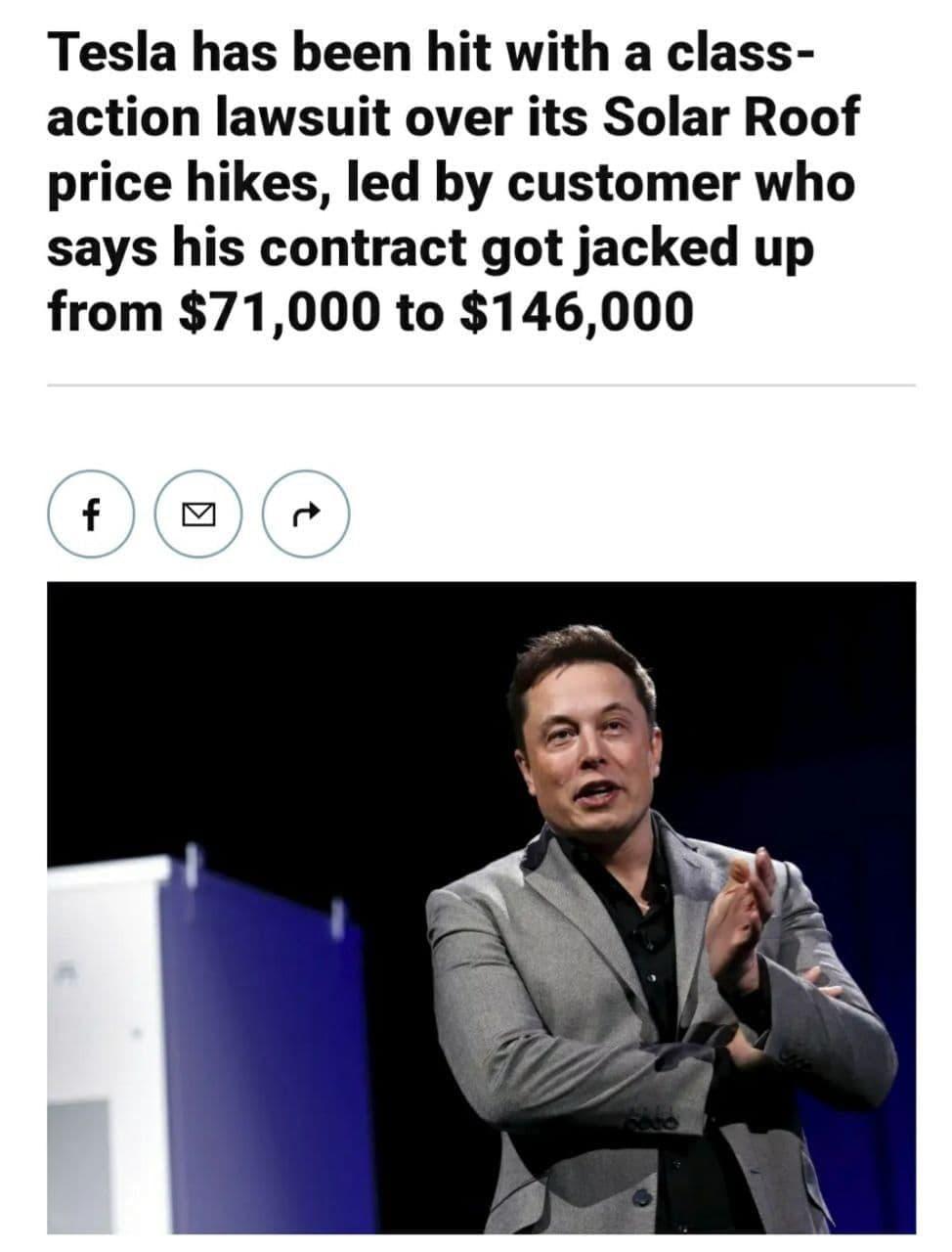 تسلا به علت افزایش قیمت در قرارداد پنل های خورشیدی متهم شده است