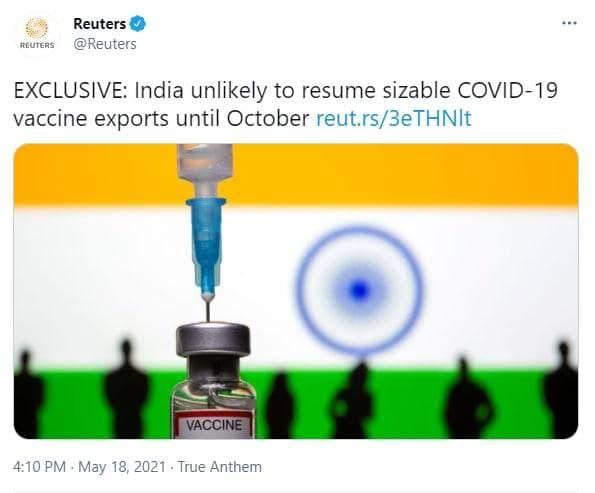 توقف صادرات واکسن هندی