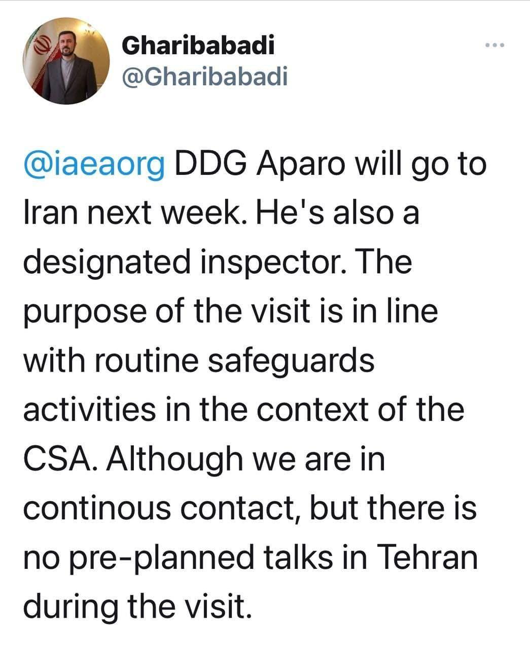 نماینده جمهوری اسلامی در وین:معاون مدیرکل آژانس این هفته به تهران میرود.