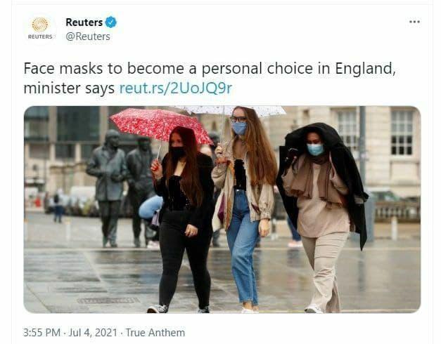 ماسک زدن در انگلیس اختیاری شد