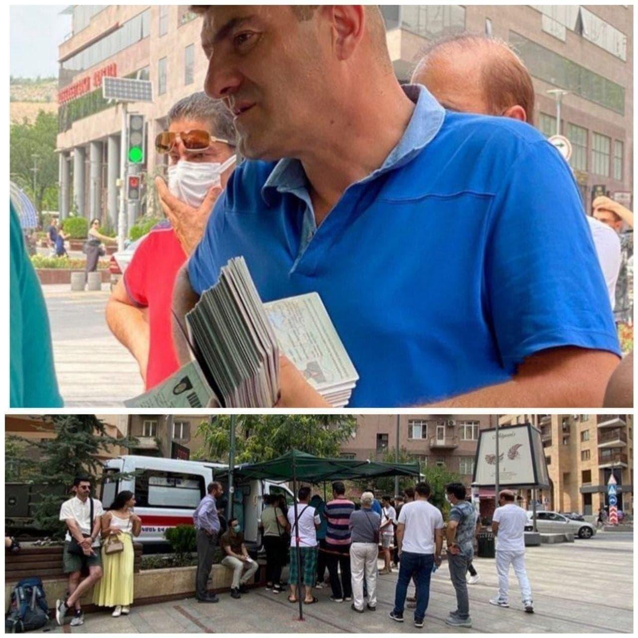 تصویری از گردشگران ایرانی در صف تزریق واکسن کرونا در ایروان ارمنستان