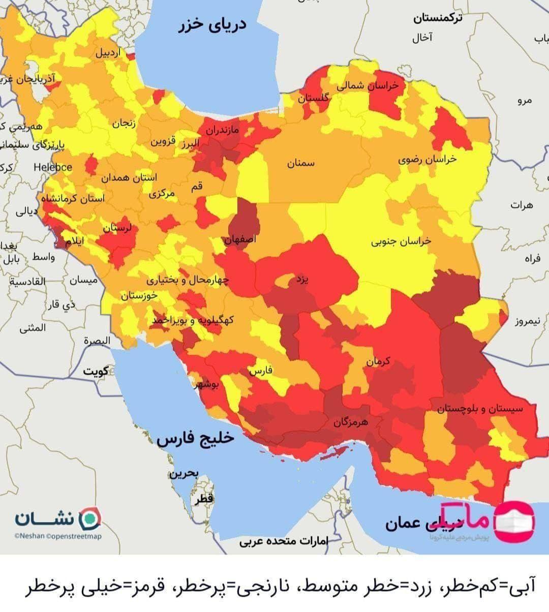 اعلام وضعیت قرمز کرونا در ۱۵ مرکز استان