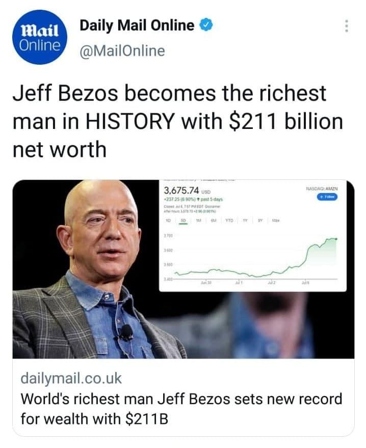 جف بزوس ثروتمندترین مرد تاریخ شد