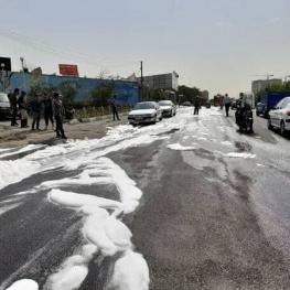 نشت بنزین در جایگاه سوخت بزرگراه شهید همت تهران