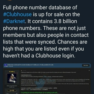 اطلاعات ۳.۸ میلیارد کاربر کلاب هاوس هک شد