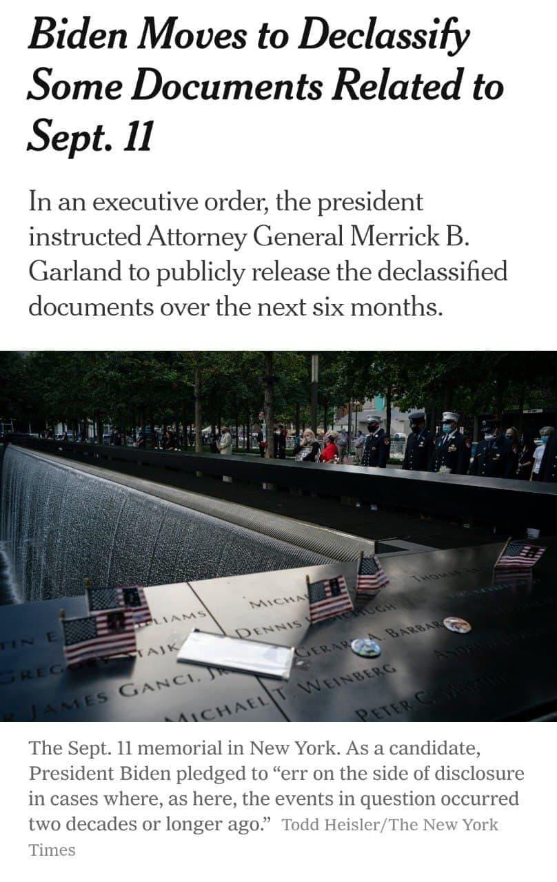 دستور بایدن در مورد اسناد محرمانه ۱۱ سپتامبر