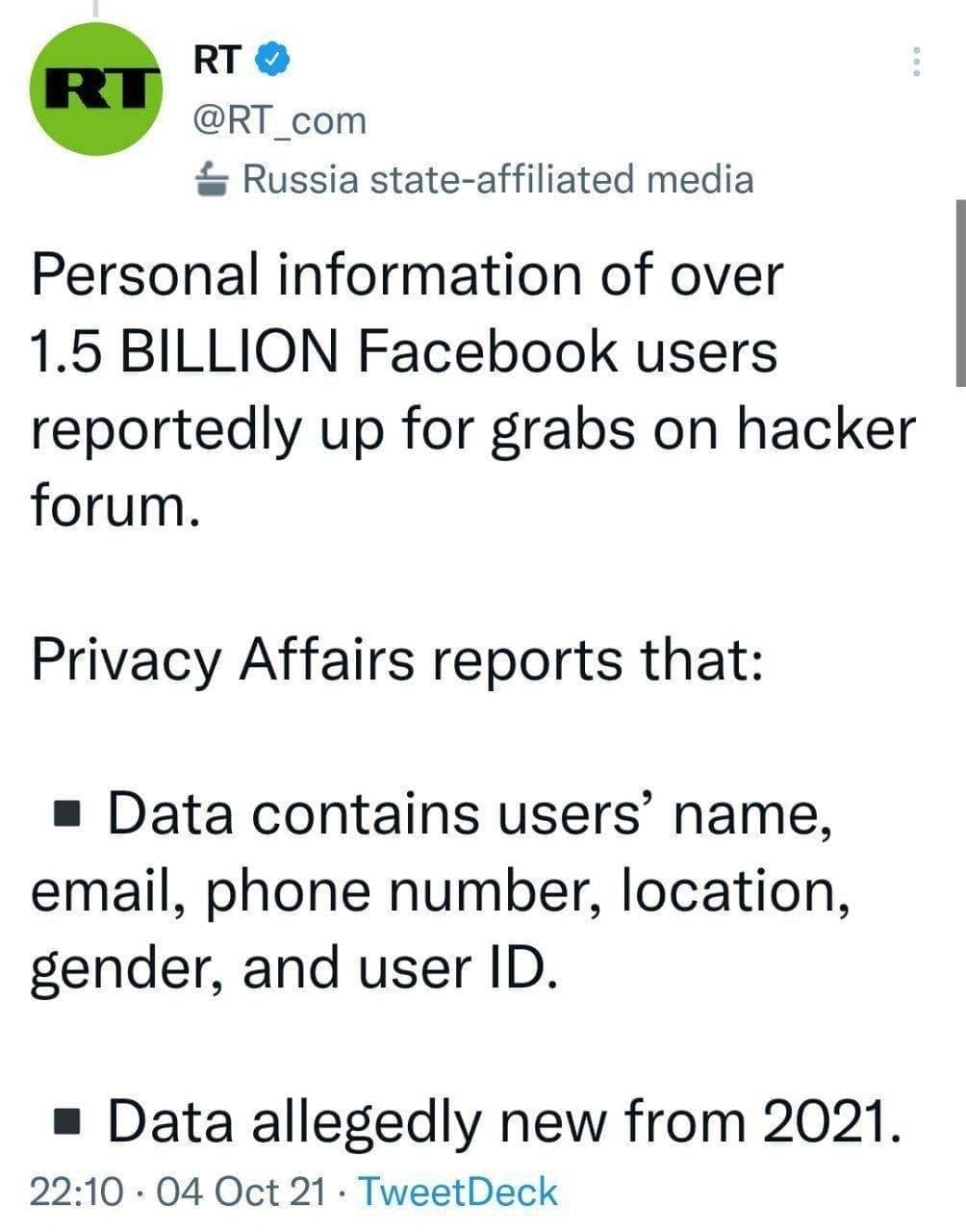 اطلاعات یک ونیم بیلیون کاربر فیس بوک توسط هکرها به فروش گذاشته شده است