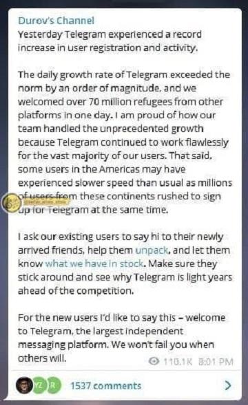 مدیر تلگرام: رکورد زدیم! ۷۰ میلیون کاربر جدید به ما ملحق شدند