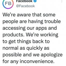 فیسبوک اعلام کرد از مشکل به وجود آمده در اپلیکیشنهای خود آگاه است