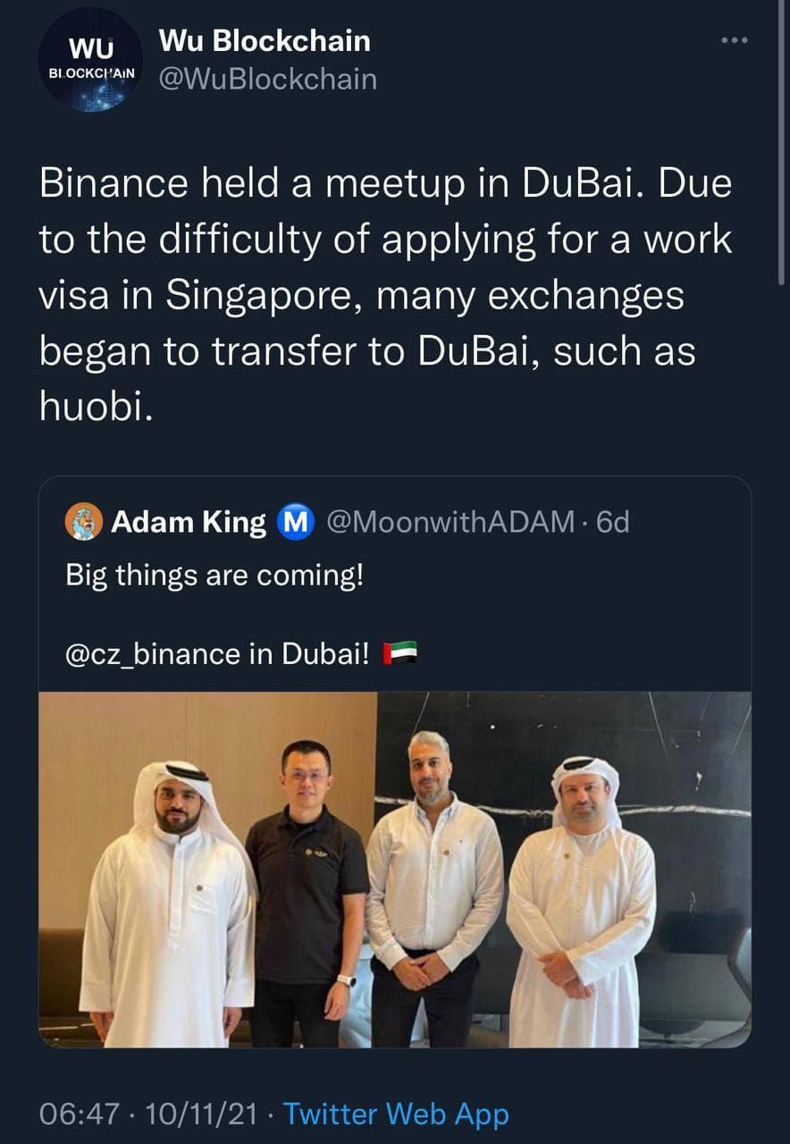 مدیرعامل بایننس در دبی با مقامات دیداری برگزار کرده است.